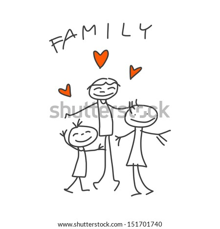 hand drawing cartoon happy family with dad