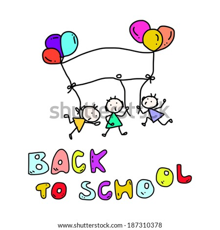 hand drawing cartoon happy kid back to school - stock vector