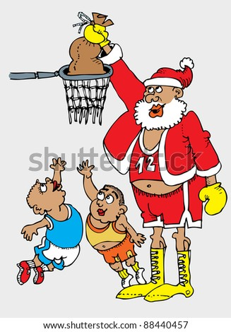 Hand drawing cartoon with afro-american basketball star as a Santa Claus in the match with two small and young players - stock vector