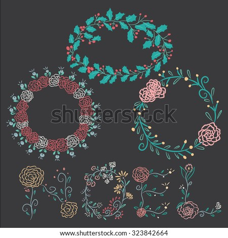 Hand drawing christmas vintage borders with flowers alphabets. Vector illustration elements decorate your holiday. - stock vector