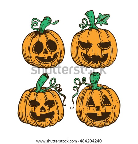 hand drawing colored halloween pumpkin collection on white background