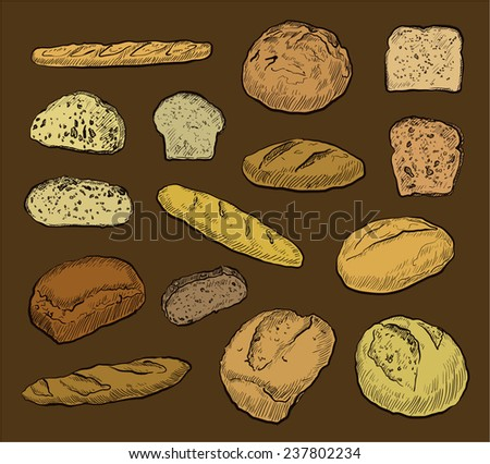 Hand drawing, colored, loaves bread, set of fifteen vector illustrations.