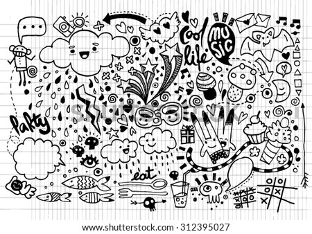 Hand drawing Doodle elements,pen drawn background. Vector illustration.