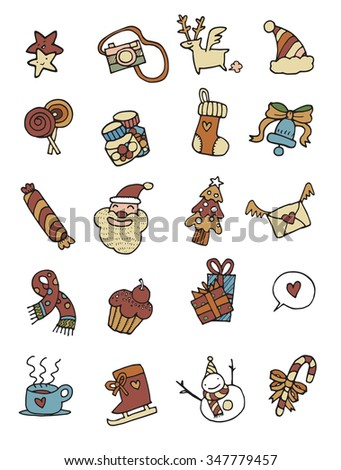 Hand drawing Doodle of Christmas Icons.Vector illustration