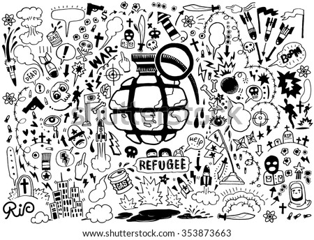 Hand drawing Doodle War collection,Flat Design Vector illustration.