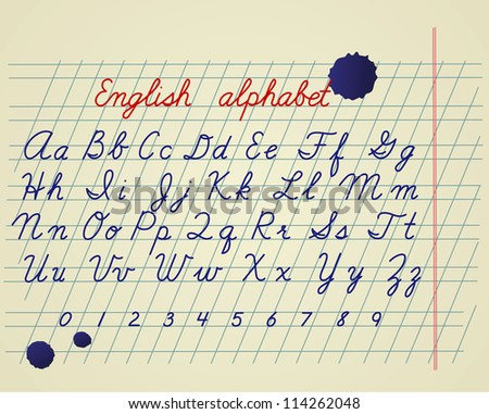 Hand drawing english letters and numbers on school notebook - stock vector