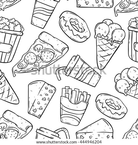 Hand drawing fast food in seamless pattern