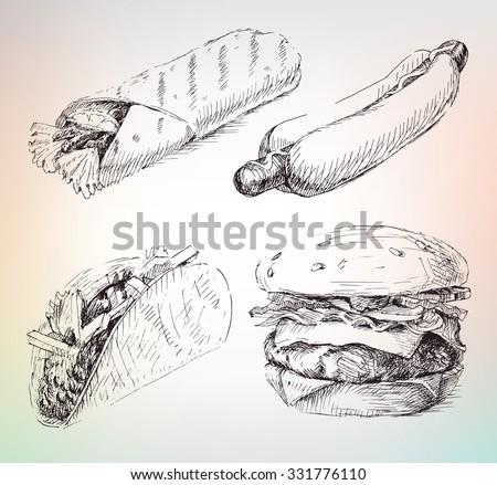 Hand drawing fast food set, hot dog, shawarma, hamburger, taco - stock vector