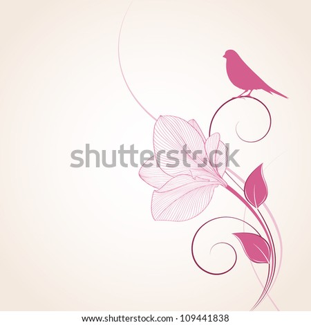 Hand-drawing floral background with flower amaryllis and bird. Element for design. Vector illustration. - stock vector