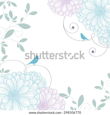 Hand-drawing floral background with flower chrysanthemum and bird. Element for design. Vector illustration. - stock vector