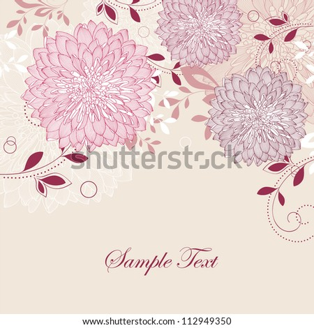 Hand-drawing floral background with flower chrysanthemum. Element for design. Vector illustration. - stock vector