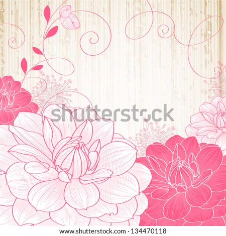 Hand-drawing floral background with flower dahlia. - stock vector