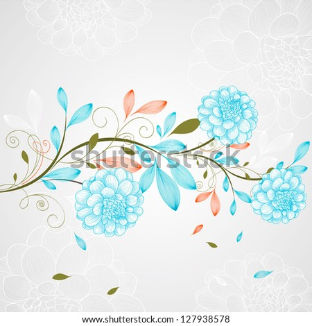 Hand-drawing floral background with flower dahlia. Vector illustration. - stock vector