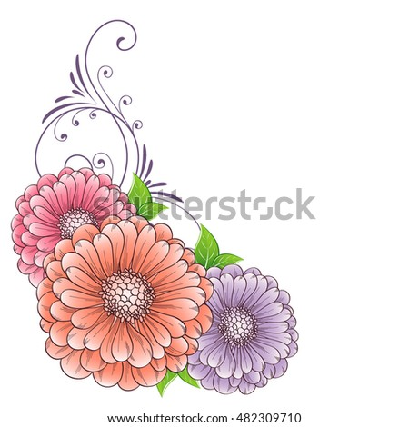 Hand-drawing floral background with flower zinnias. Element for design. Vector illustration.