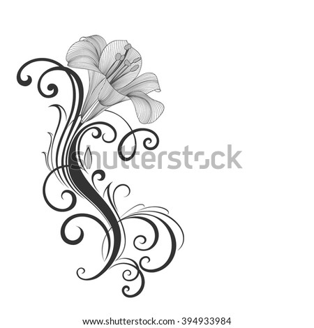 Hand-drawing floral background with flowers lily. Element for design. Vector illustration. - stock vector