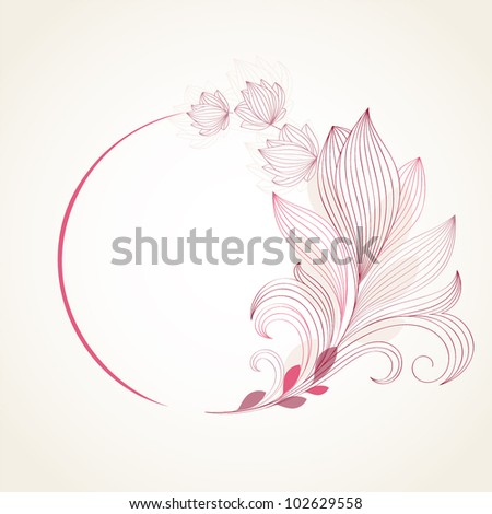 Hand-drawing floral frame. Element for design. - stock vector