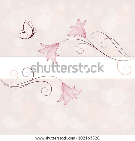 Hand-drawing floral frame with butterflies. Element for design. - stock vector
