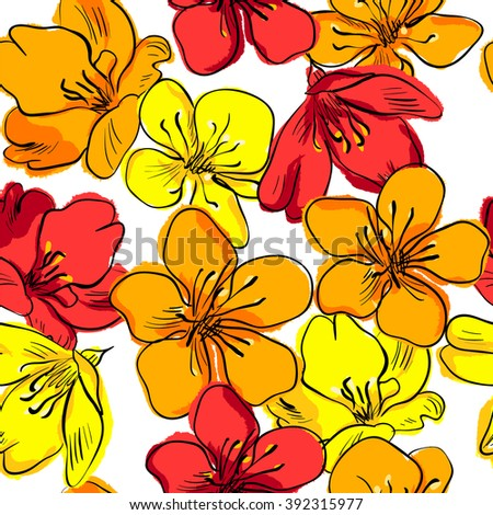 Hand drawing floral seamless pattern.