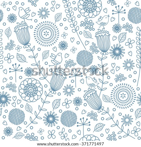 Hand drawing floral seamless pattern with birds. Surface textile design for woman clothes and swimwear.