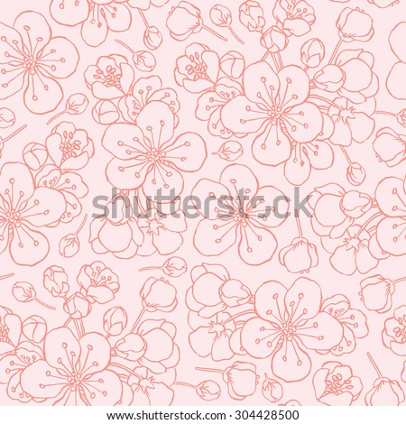 hand drawing flowering cherry, plum or sakura - seamless vector pattern - stock vector