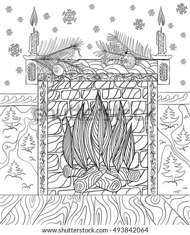 Hand Drawing For Adult Coloring Book Fireplace Decorated Christmas