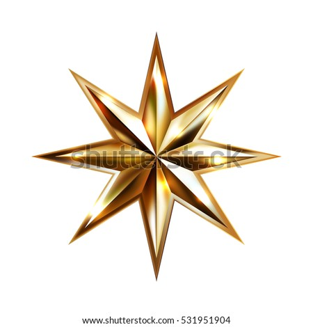 hand drawing gold star with eight rays elegant element isolated on white background, vector illustration eps10