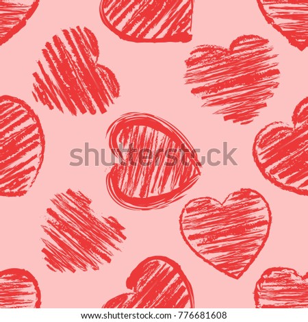 hand drawing hearts, seamless pattern