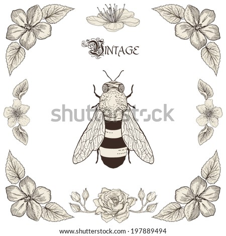 Hand drawing honey bee flowers and leaves decorative floral frame Vintage engraving style - stock vector