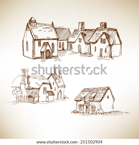 Hand drawing houses. Sketch on brown paper. Vector illustration. - stock vector