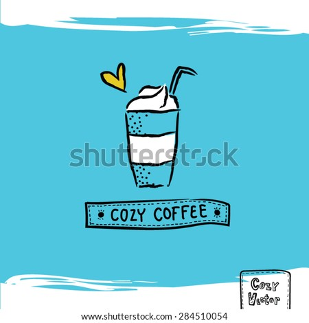 Hand drawing ice coffee cup logo vector.