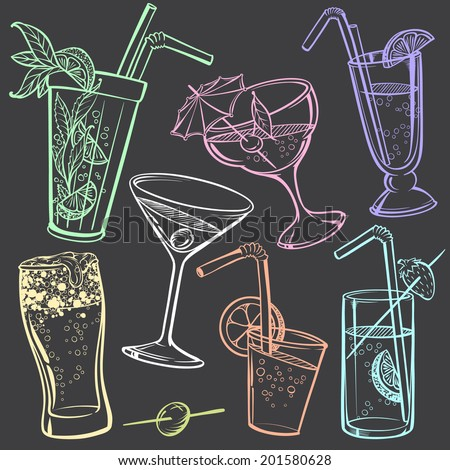 Hand-drawing Icons of Alcoholic Drinks Glasses stylized in Chalk-draft - stock vector