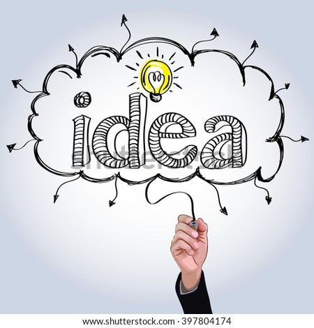 Hand drawing idea with light bulb in cloud illustration vector - stock vector