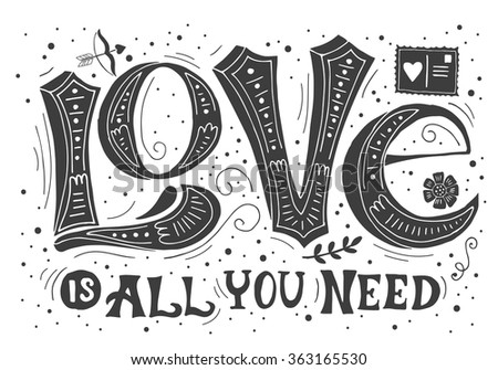 Hand drawing lettering for Valentine's day. Greeting card design. Isolated vector illustration - stock vector