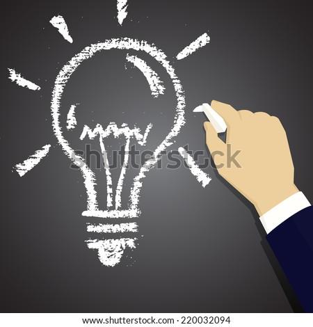 Hand drawing light bulb chalk on a blackboard. Symbol ideas. - stock vector
