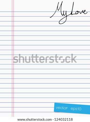 Hand drawing love letter on paper - stock vector