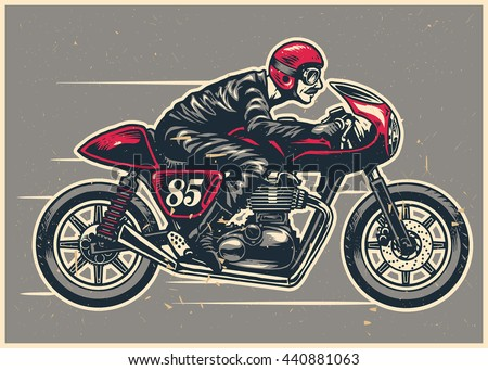 Hand Drawing Man Riding Cafe Racer Stock Vector 440881063
