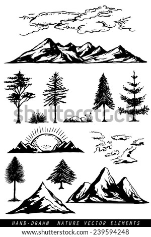 Hand drawing mountains pines clouds and plants vector illustration - stock vector