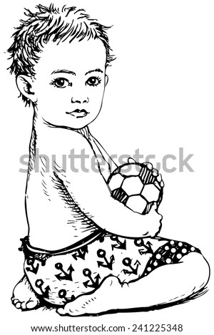 Hand drawing of a little boy with ball in summer. Vector Illustration - stock vector