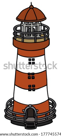 hand drawing of a old lighthouse - stock vector
