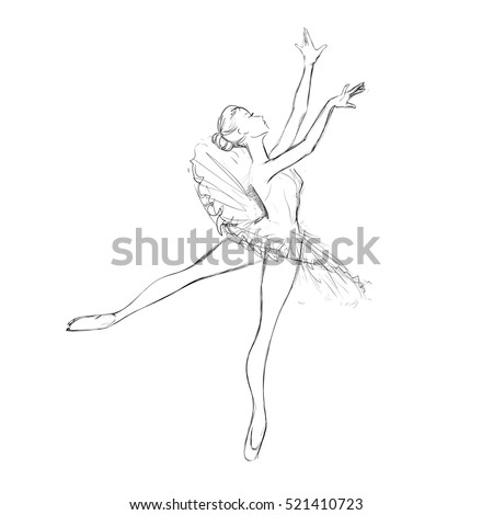 Hand Drawing of a Young Ballerina. A Hand Drawing of a Ballerina. Vector Illustration of a Ballet Dancer Girl. Freehand Drawn. Vector Sketch.
