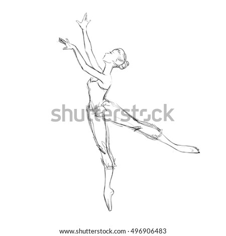 Hand Drawing of a Young Ballerina. Vector Illustration of a Ballet Dancer Girl. Freehand Drawn. Vector Sketch.