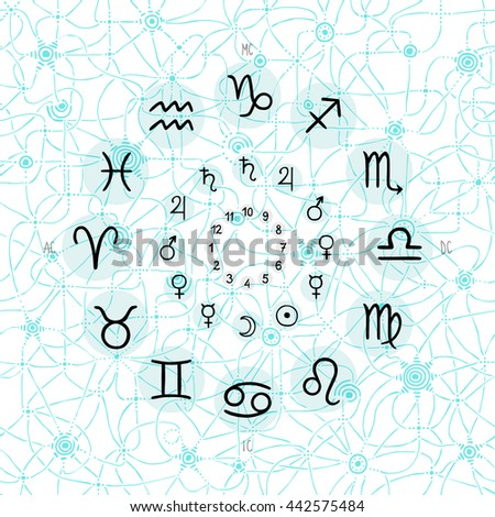 hand drawing of accurate horoscope illustration - zodiac wheel with ancient ruling planet symbols on light whimsical starry background - stock vector
