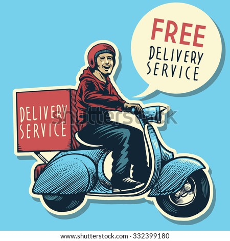 hand drawing of delivery service man riding a scooter - stock vector