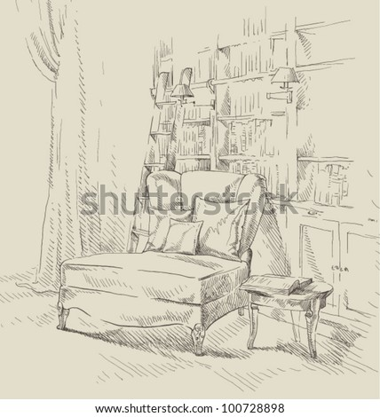 Hand drawing of interior library - stock vector