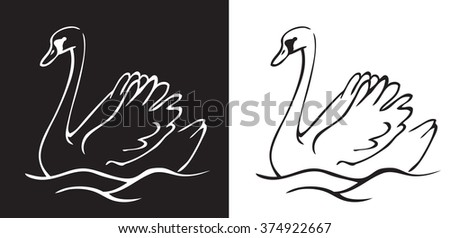hand drawing on white and black background bird swan swims