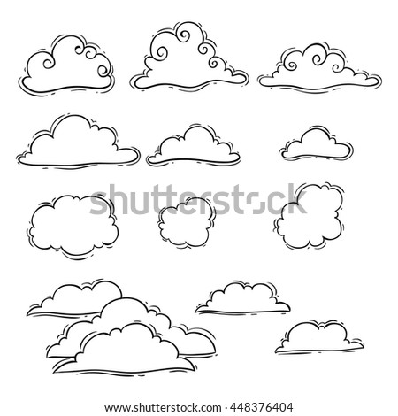 Hand drawing or doodle art clouds set on white background - stock vector