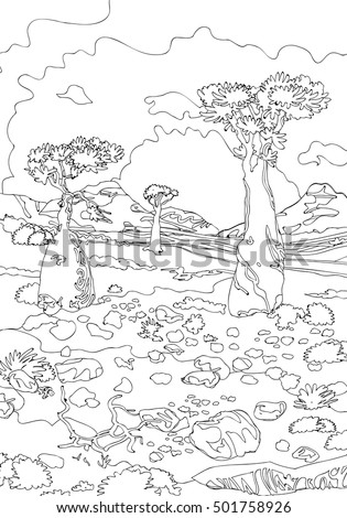 hand drawing ornamental landscape trees stones stock
