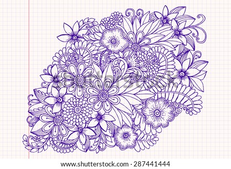 Hand drawing pattern. Floral doodle. Vector flowers - stock vector