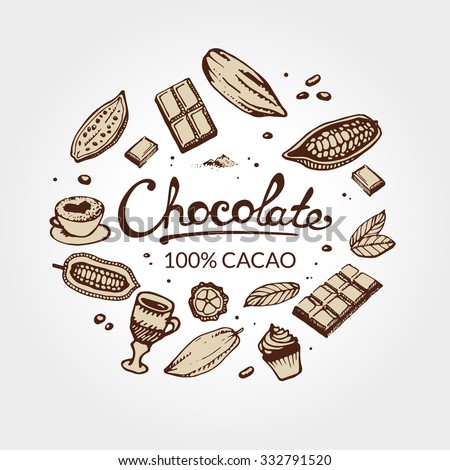 Hand drawing pattern of cacao beans, chocolate, cake, cup of hot chocolate, mug, latte. For menu and box design: horeca, cafe, bar, restaurant, cooking, bakery. - stock vector
