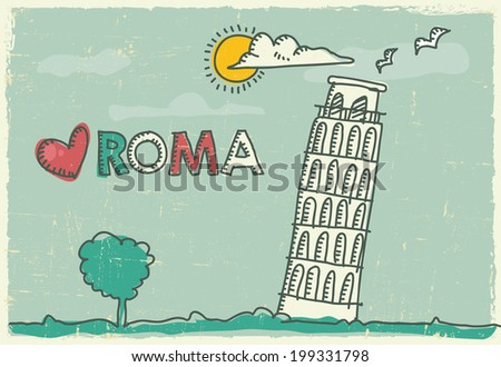 Hand drawing pisa tower on a Poster and Postcard - stock vector